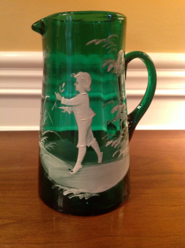 Antique Mary Gregory Emerald Green Pitcher Hand Blown
