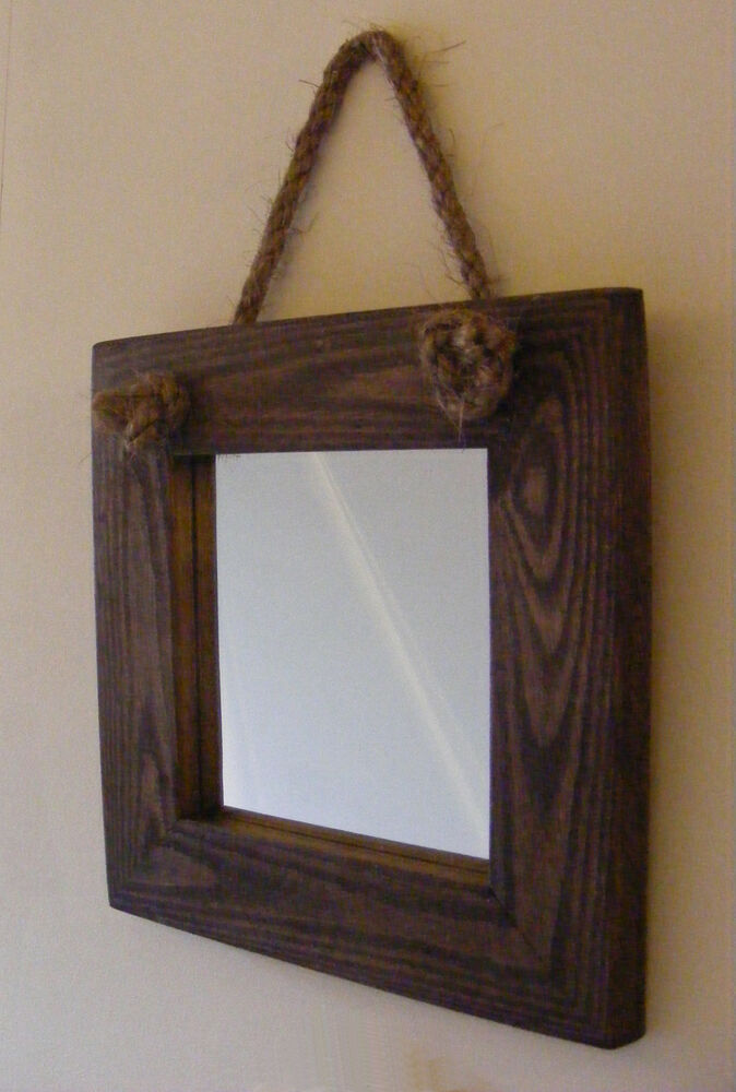 Wall hanging small rope mirror rustic solid wood square for Hanging mirror