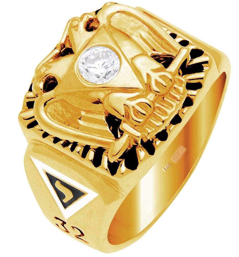 10k 14k white or yellow gold masonic scottish rite