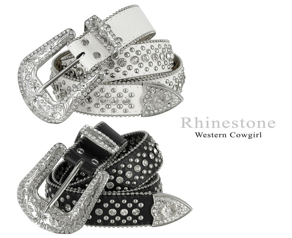 western rhinestone cowgirl style bling women 39 s studded fashion belt 1 1 2 wide ebay. Black Bedroom Furniture Sets. Home Design Ideas