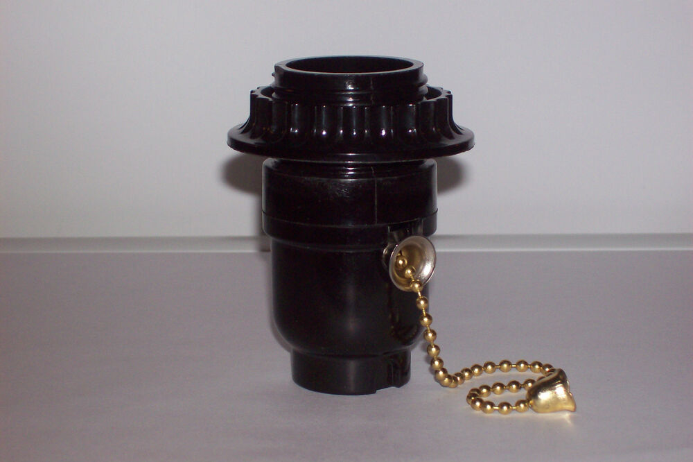 bakelite pull chain threaded socket with ring lamp part. Black Bedroom Furniture Sets. Home Design Ideas
