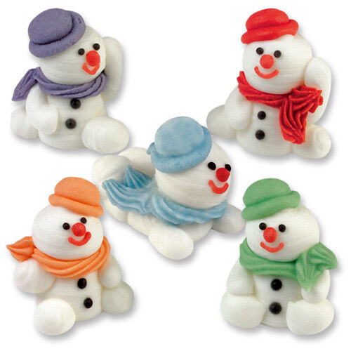 Sugar snowmen 3d edible sugar christmas cupcake toppers for How to make edible cake decorations at home
