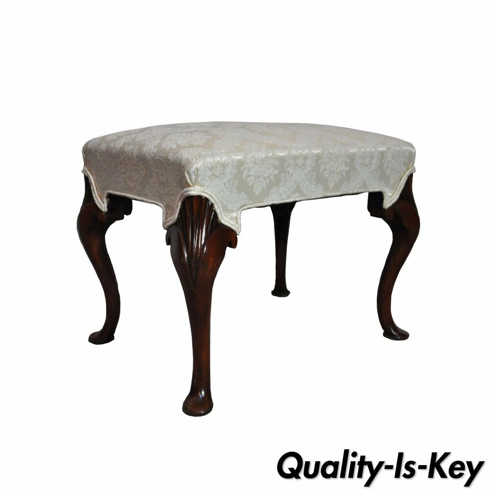 Vintage Mahogany Queen Anne Style Pad Foot Ottoman Foot