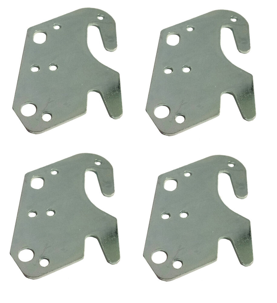 set of 4 universal wood bed rail replacement metal claw hook plates ebay. Black Bedroom Furniture Sets. Home Design Ideas