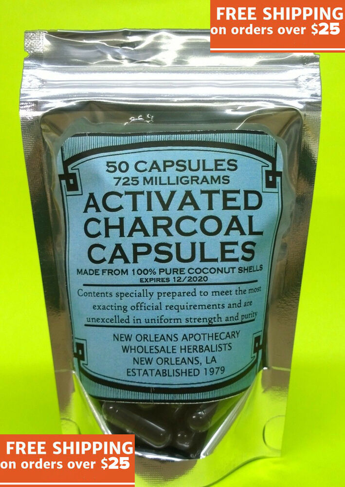 Activated charcoal caps coconut shell 725mg 2 8x larger than usual