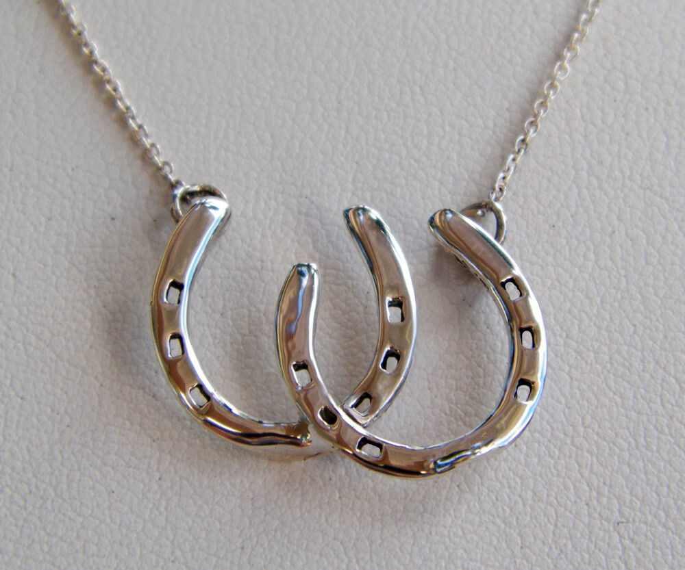 argentium sterling silver horseshoe equine necklace