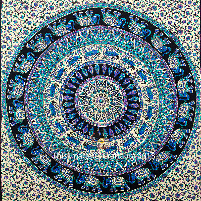 Tapestry Wall Art indian elephant mandala tapestry wall hanging hippie tapestries