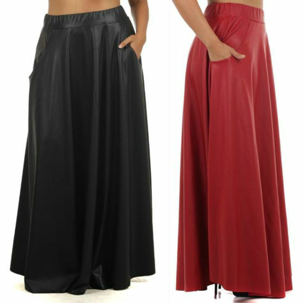 plus size skirt faux leather high waist sweep maxi