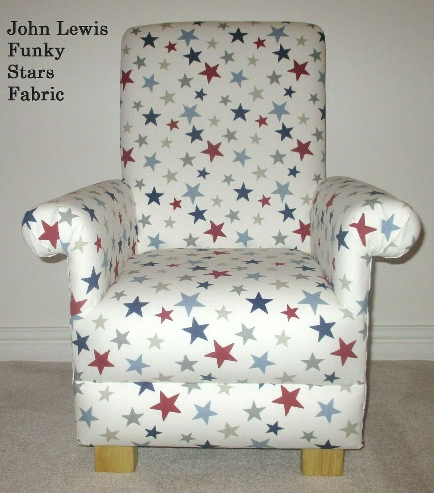 John lewis funky stars blue fabric child chair bedroom for Children s furnishing fabrics