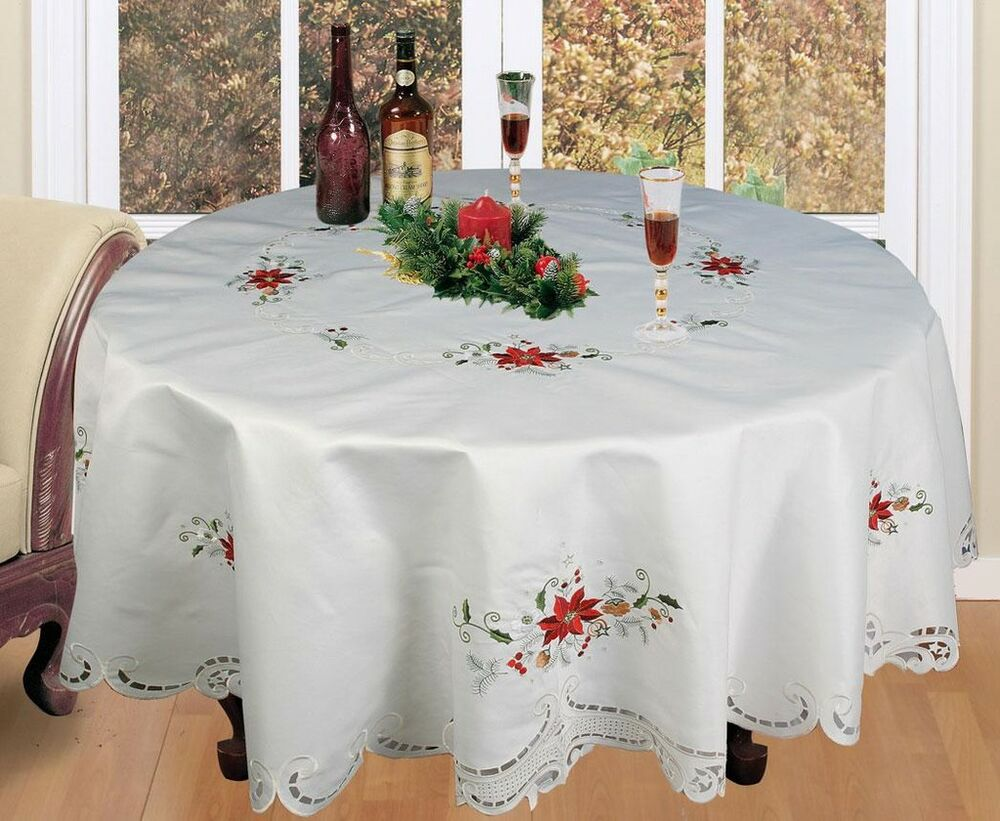 "Christmas Embroidered Poinsettia Tablecloth 70"" ROUND + 8 ..."