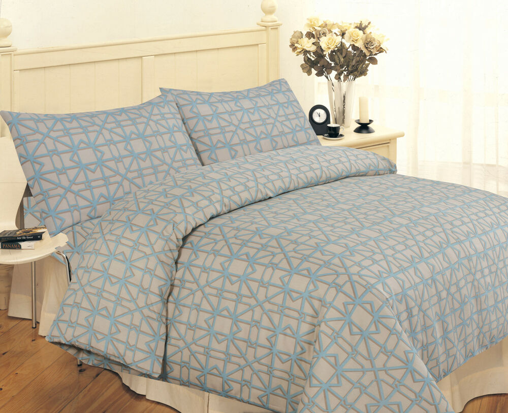 LUXURY BLUE CHECKED PRINTED POLY COTTON KING SIZE DUVET
