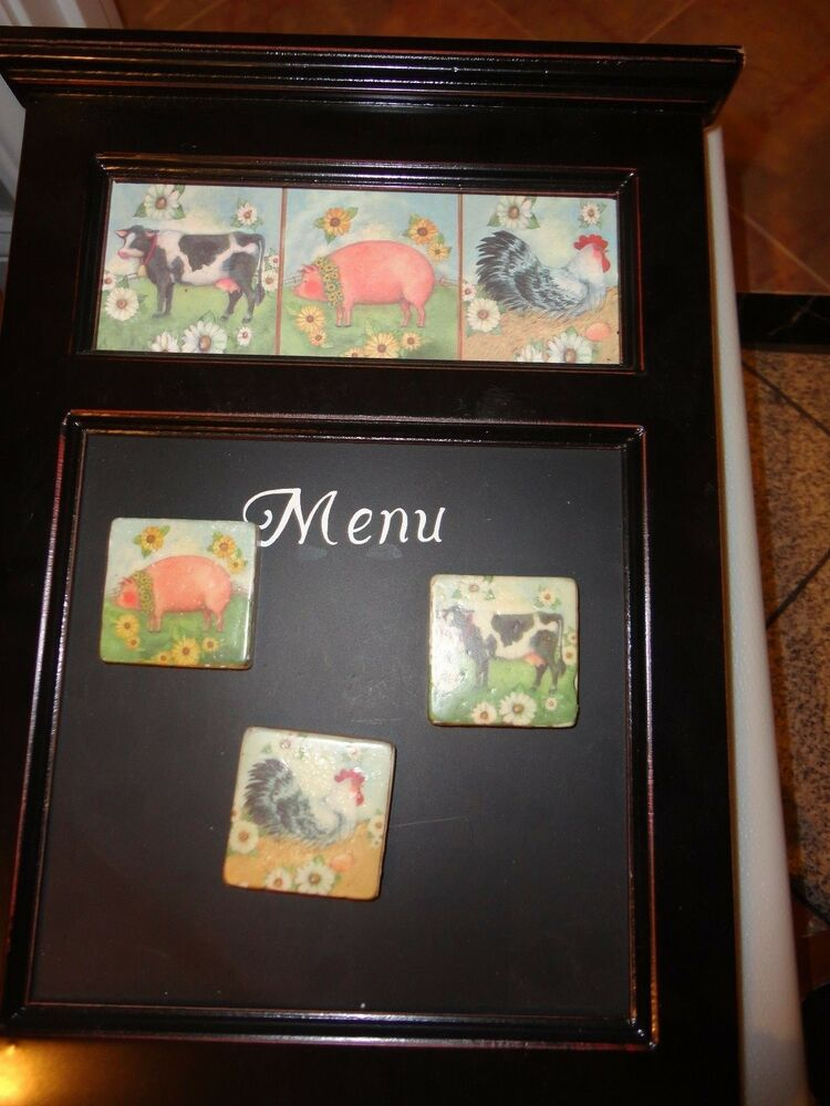 Black Wooden Wall Hanging Kitchen Menu Board W 3 Cow Pig Rooster Magnet 14x9 5 Quot Ebay