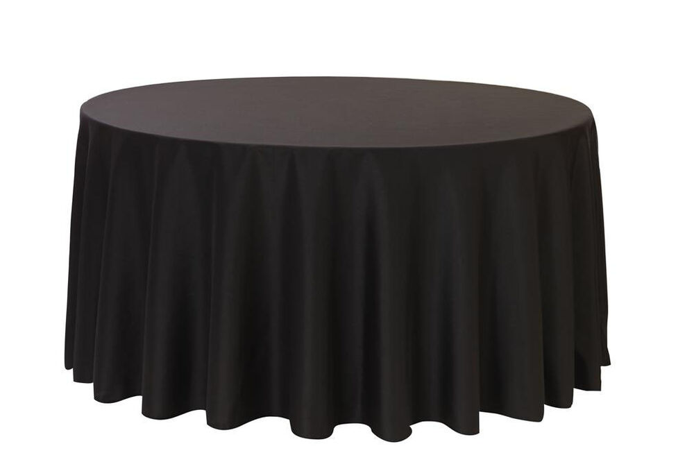 132 inch round polyester tablecloths black ebay for 120 round table seats how many
