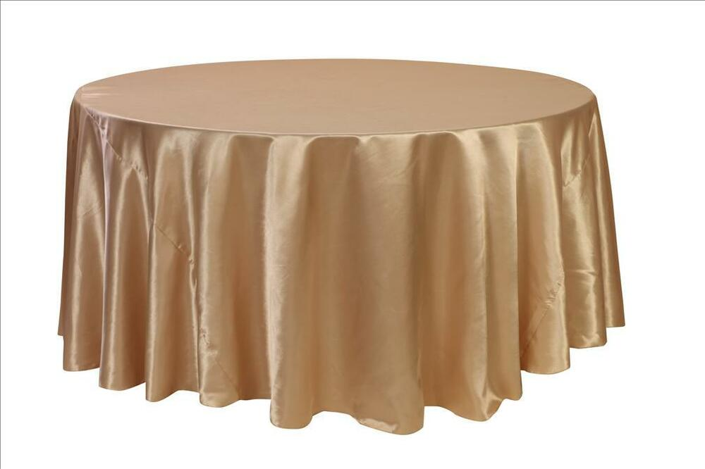 120 inch round satin tablecloths champagne ebay for 120 round table cloths
