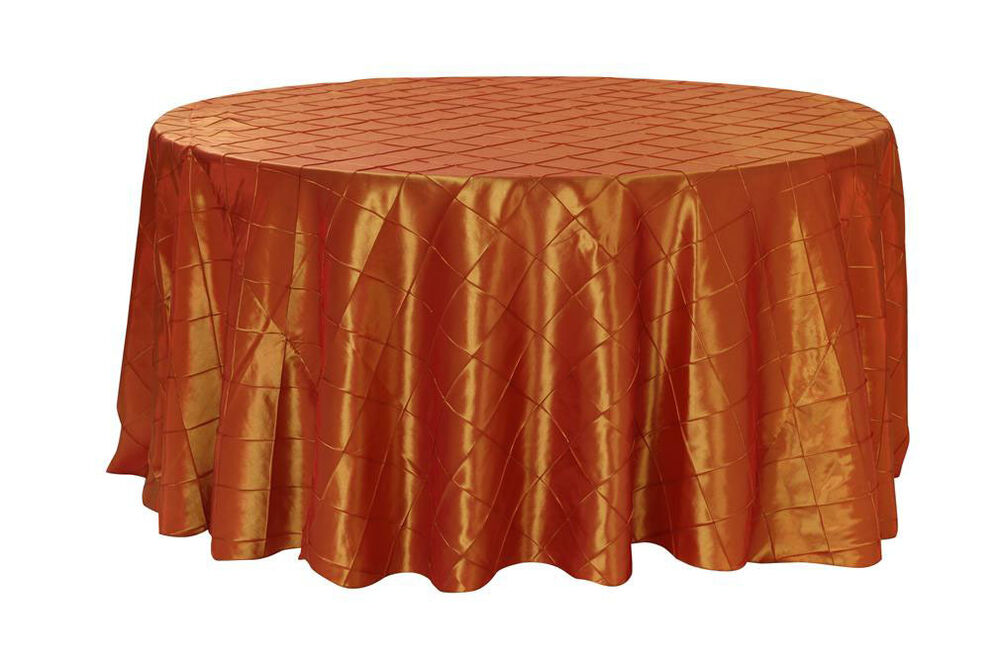 120 inch pintuck taffeta round tablecloths burnt orange ebay for 120 inch round table cloths