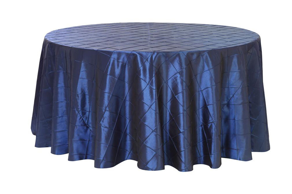120 inch pintuck taffeta round tablecloths navy blue ebay for 120 round table cloths