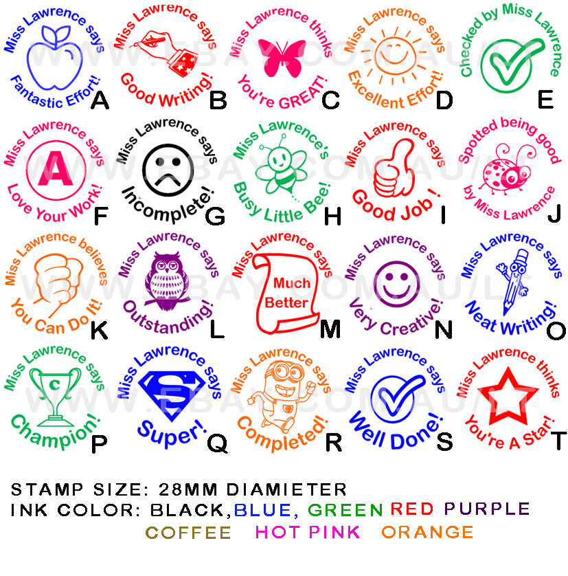 Personalised Customised Self Pre Inking Teacher School Student Stamp P1 A T