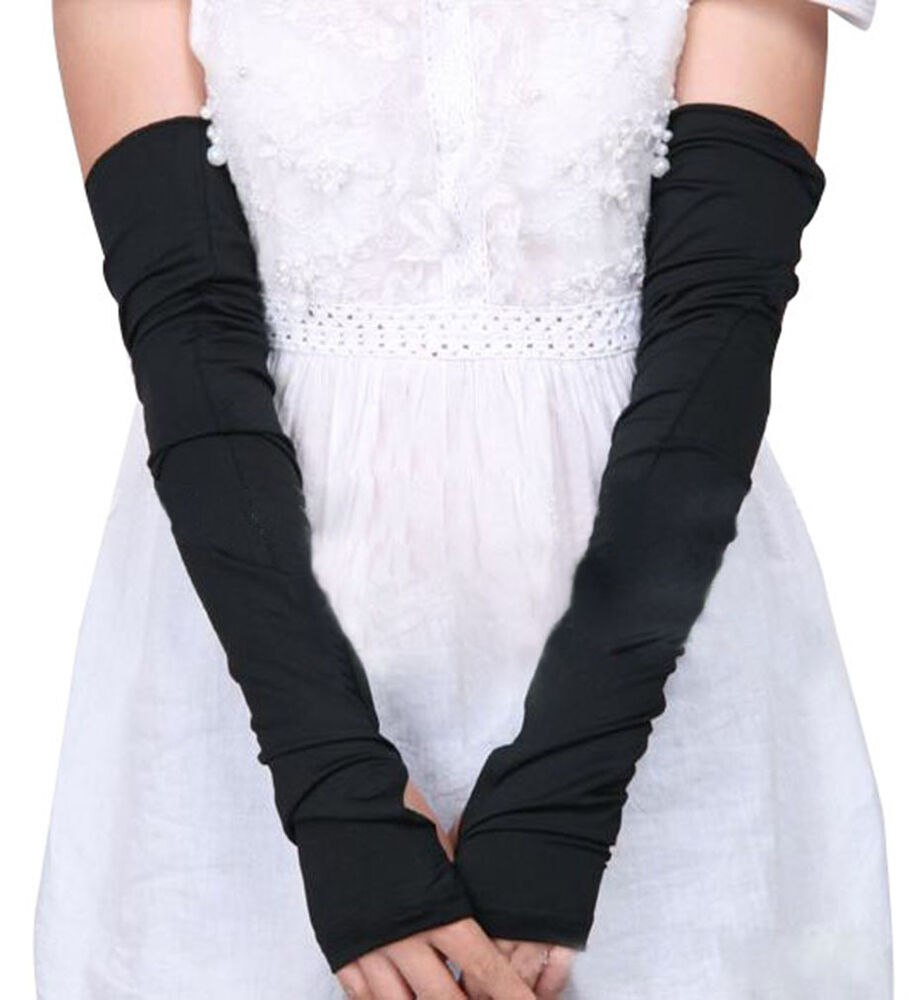 Lady Women Cotton Long Stretchy Fingerless Sun Protective