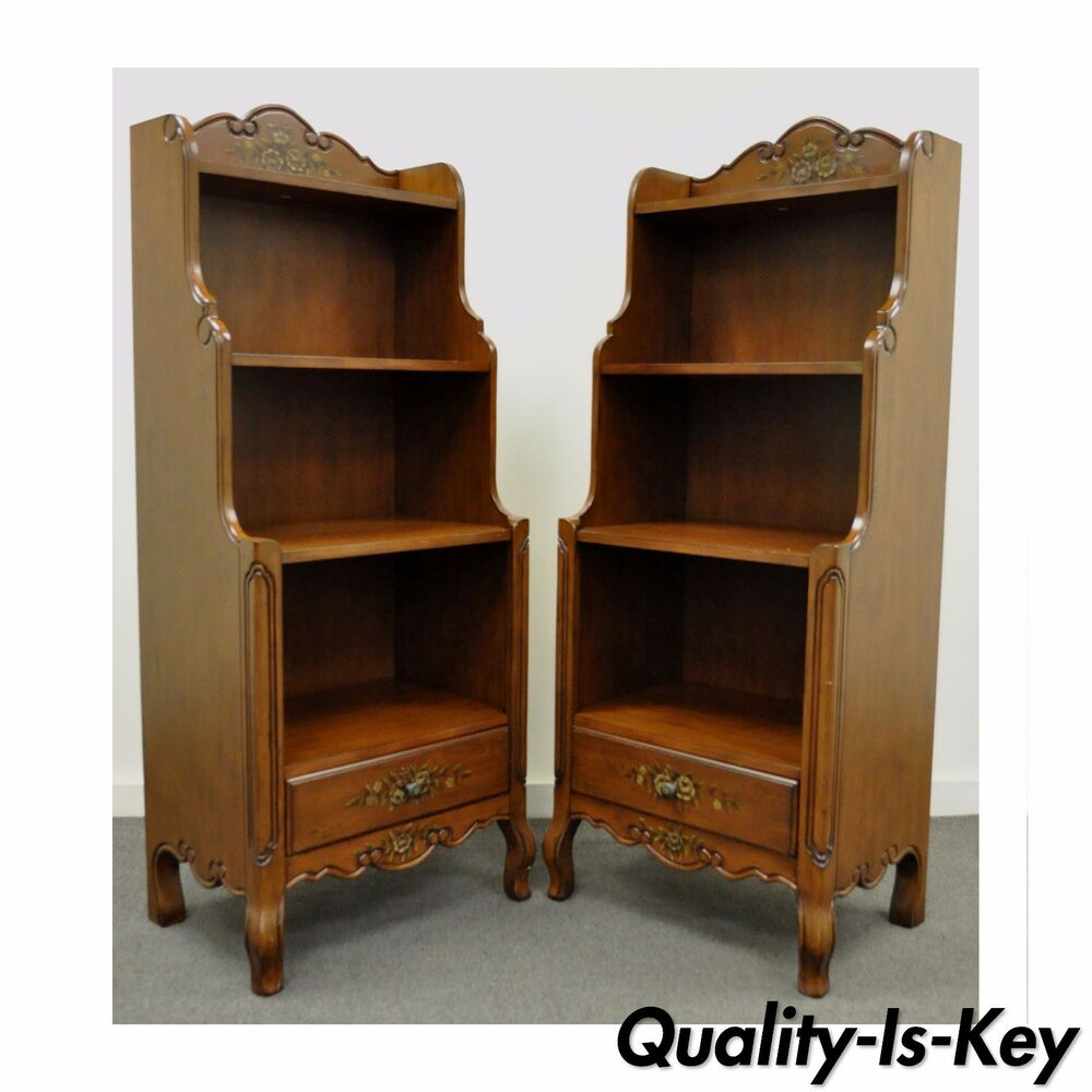 Pair Contemporary French Country Style Carved Bookcase