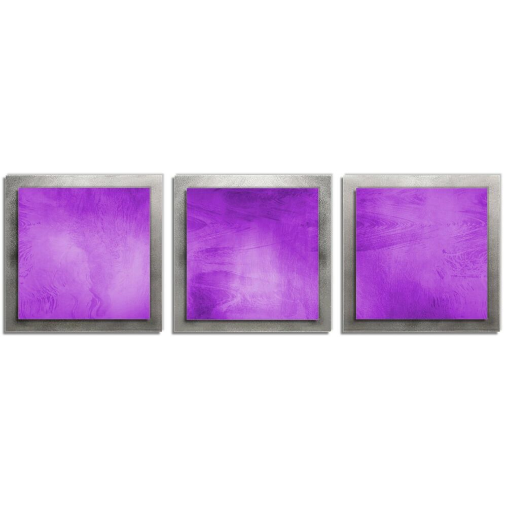 Violet abstract metal wall art contemporary modern artwork for Purple wall art
