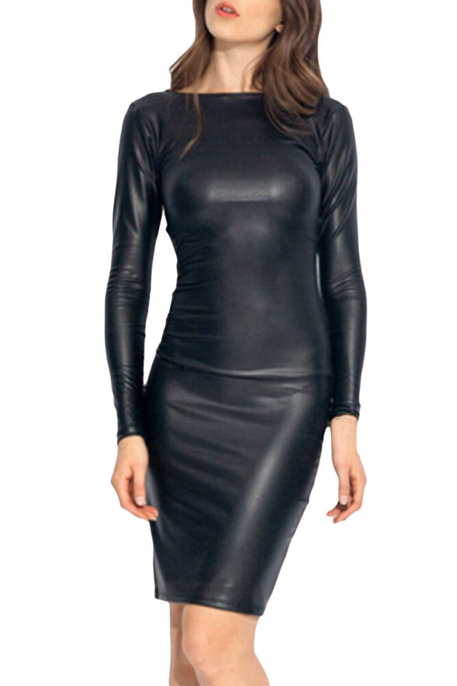 Reversible Faux Leather Midi Party Dress Sexy Women