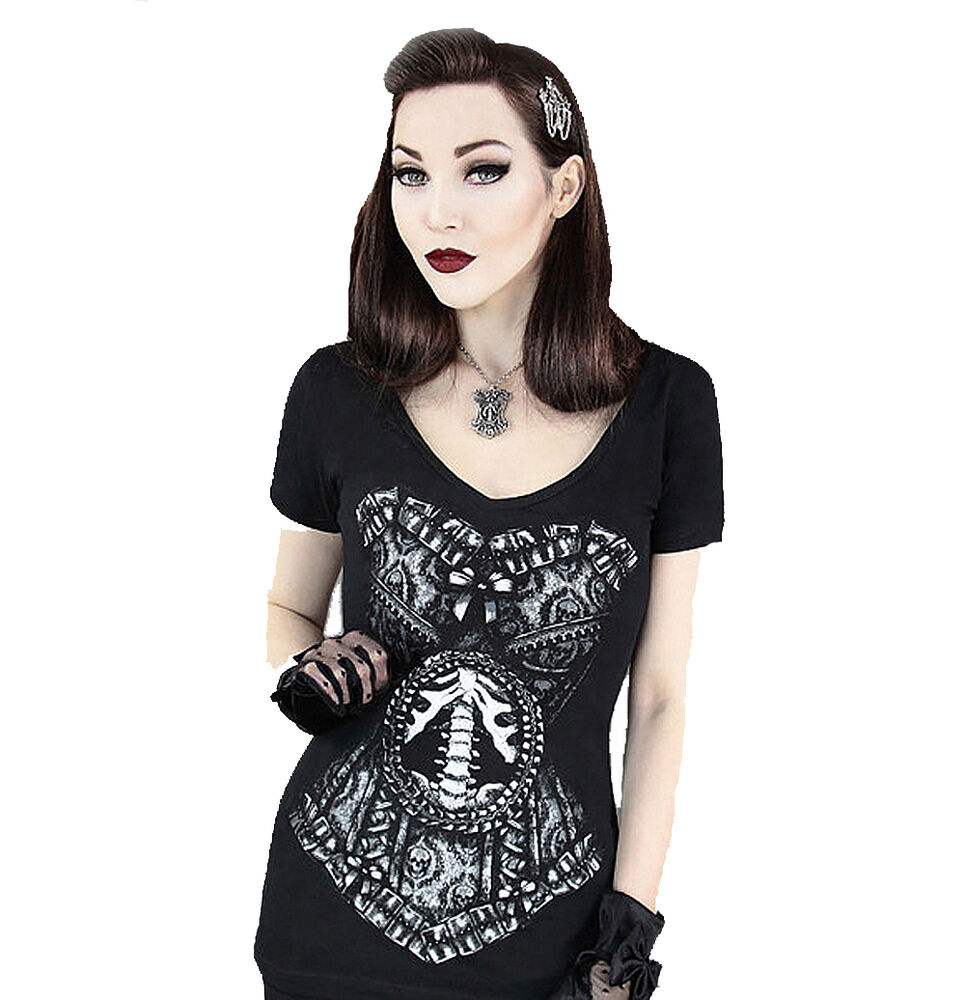 Tattoo Gothic Woman: SKELETON CORSET Womens V-Neck Top By Restyle Clothing