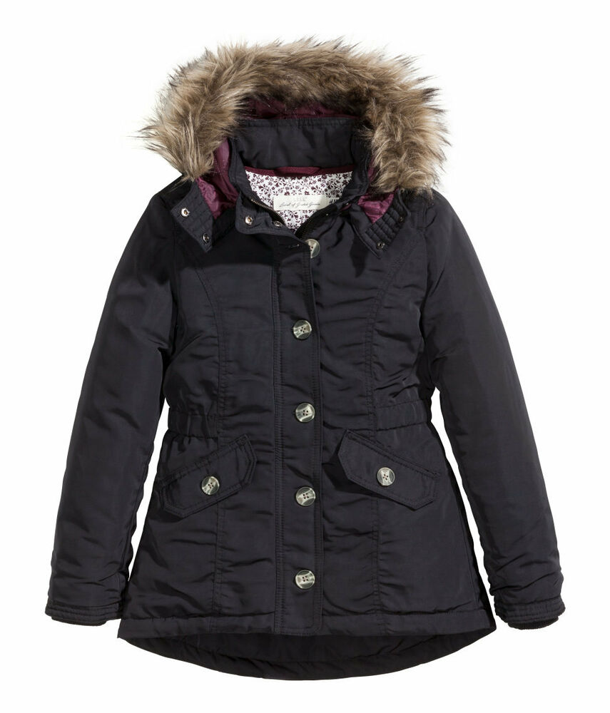 h m winterjacke leicht wattierter parka gr 134 170 3 farben neu ebay. Black Bedroom Furniture Sets. Home Design Ideas