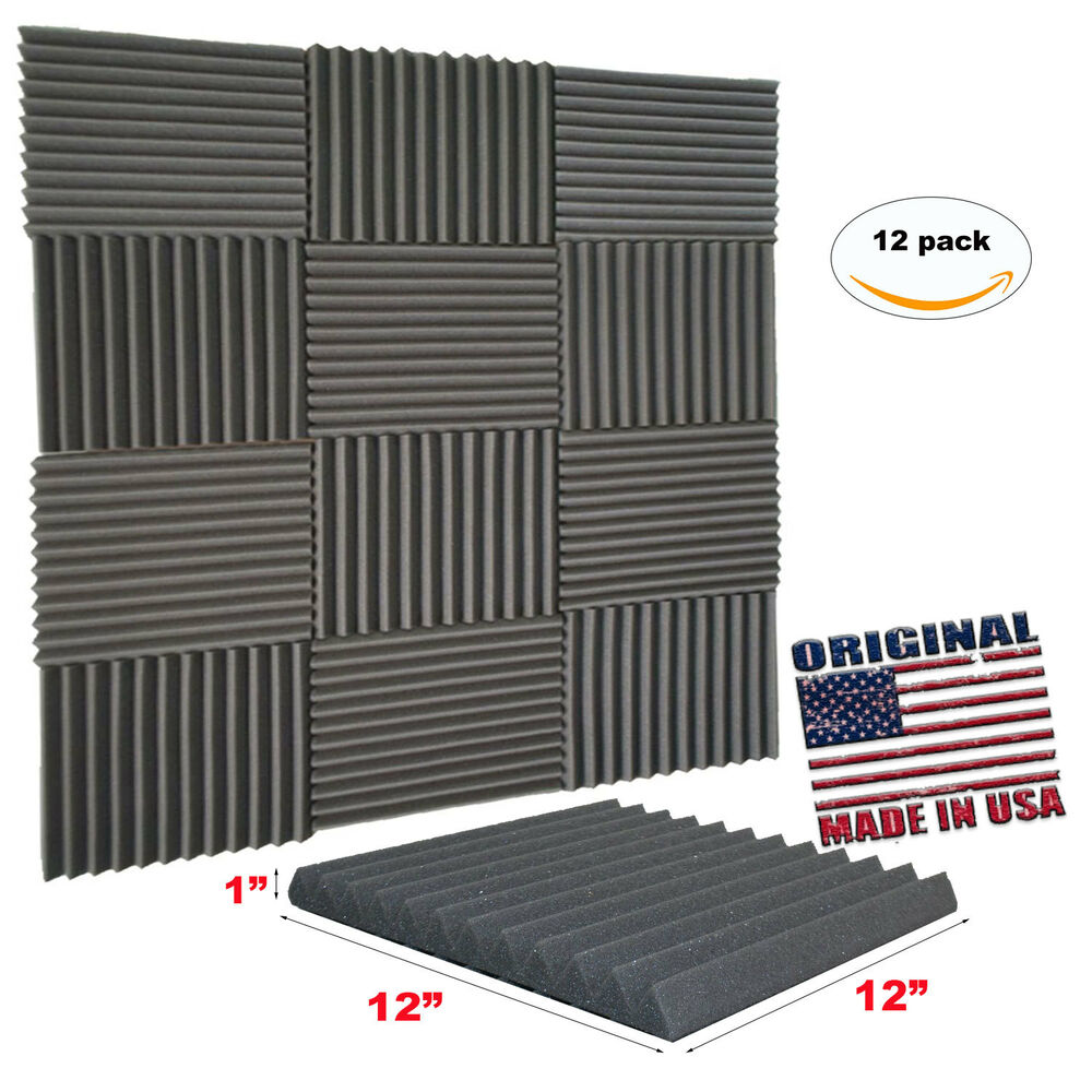12 pack acoustic wedge studio soundproofing foam wall tiles 12 x 12 x 1 usa ebay. Black Bedroom Furniture Sets. Home Design Ideas
