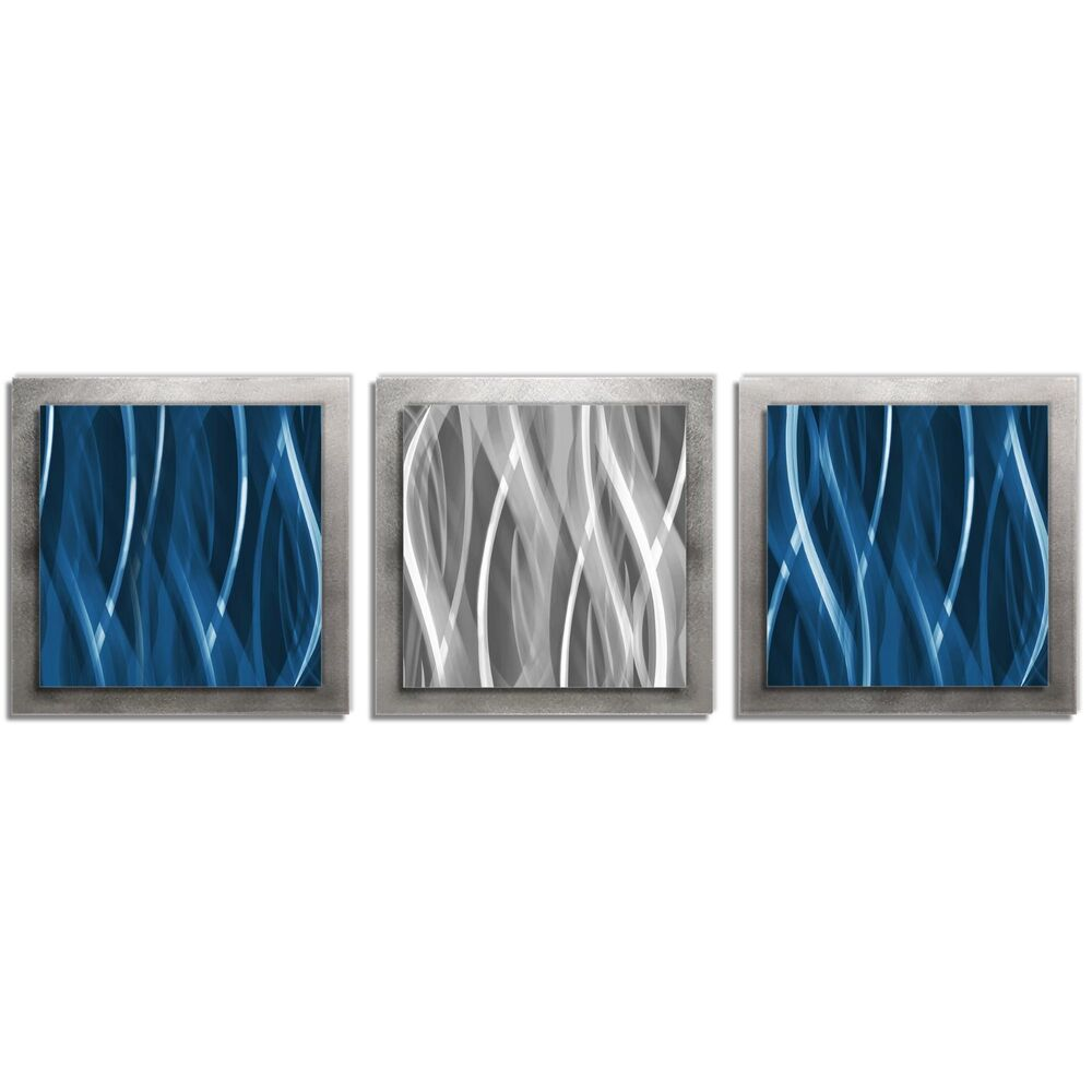 Contemporary Silver Wall Decor : Modern metal wall art masculine contemporary d?cor blue