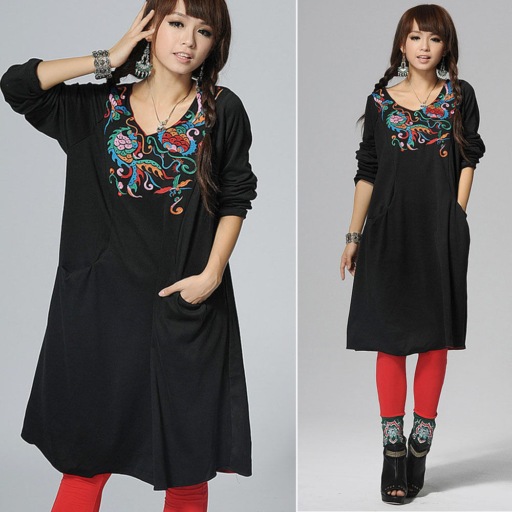 Black Women Vintage Mexican Floral Embroidered Long Sleeve ...