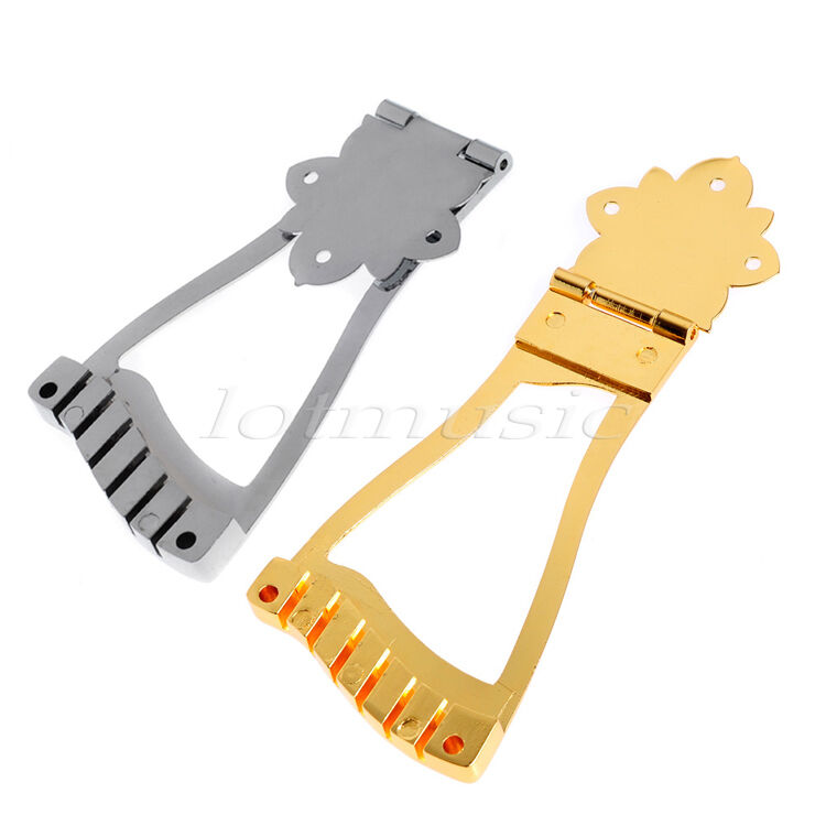 2 archtop guitar bridge tailpiece for hollow body jazz guitar parts gold chrome ebay. Black Bedroom Furniture Sets. Home Design Ideas