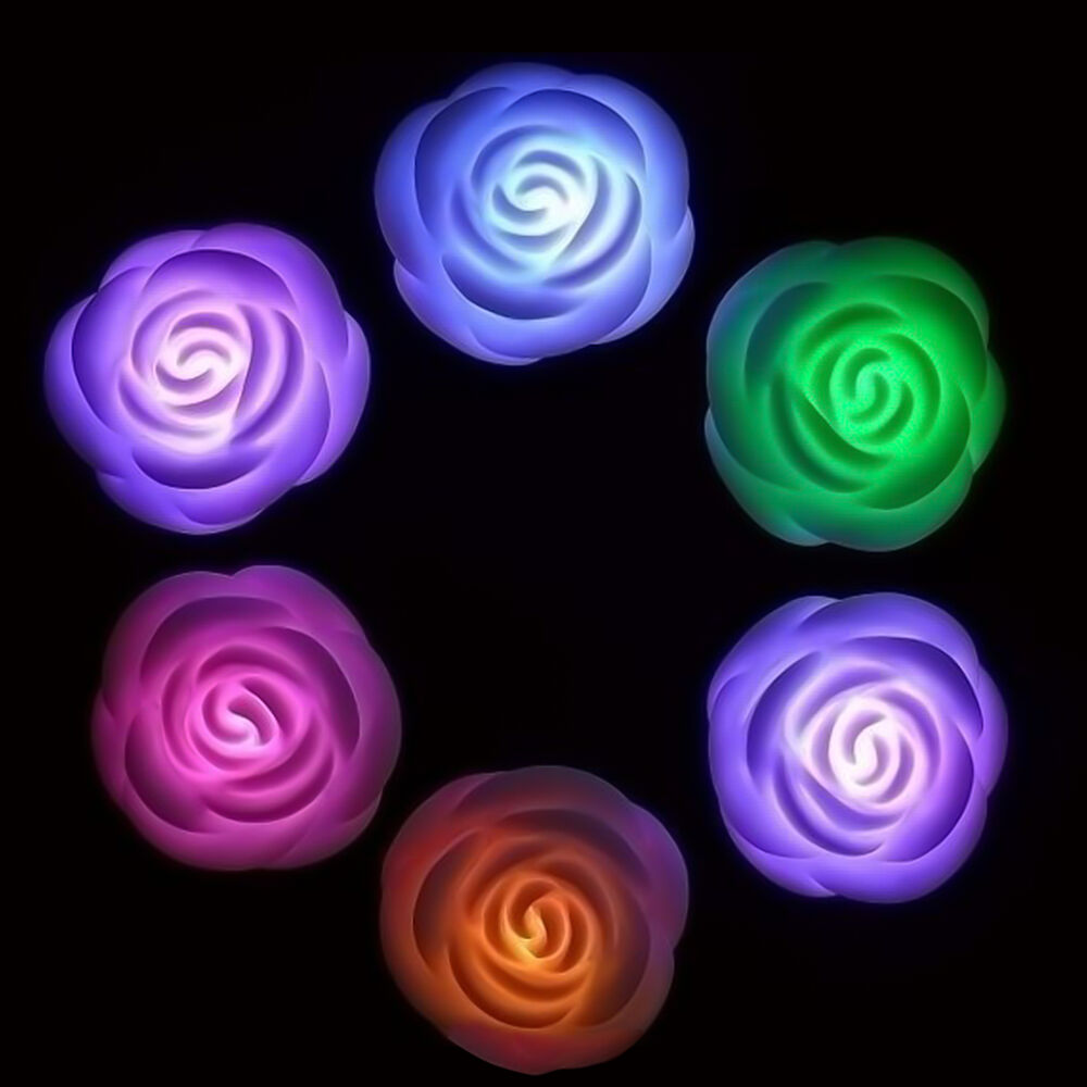 7 colors changing rose flower led light lamp house for Color changing roses