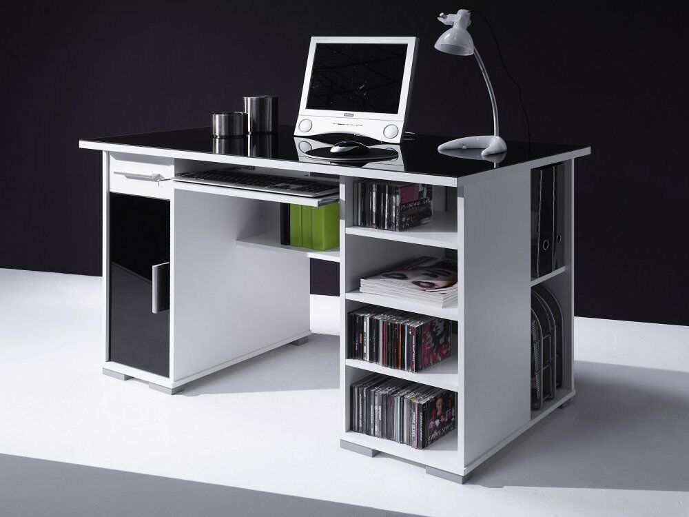 schreibtisch computertisch pc tisch home office weiss schwarz neu ebay. Black Bedroom Furniture Sets. Home Design Ideas