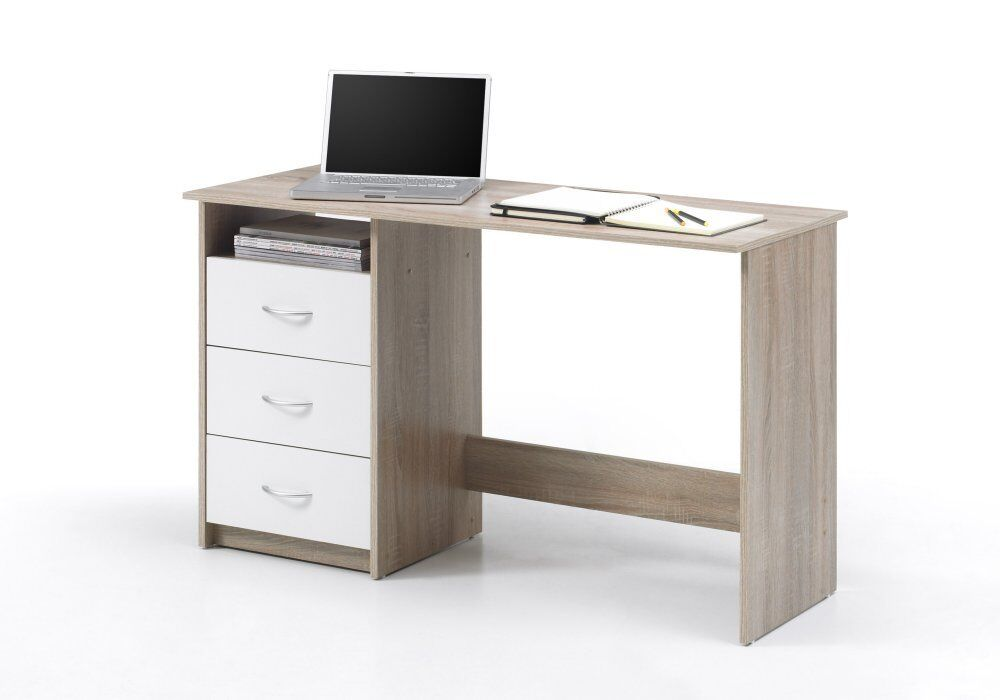 schreibtisch computertisch pc tisch home office b ro eiche sonoma weiss neu ebay. Black Bedroom Furniture Sets. Home Design Ideas
