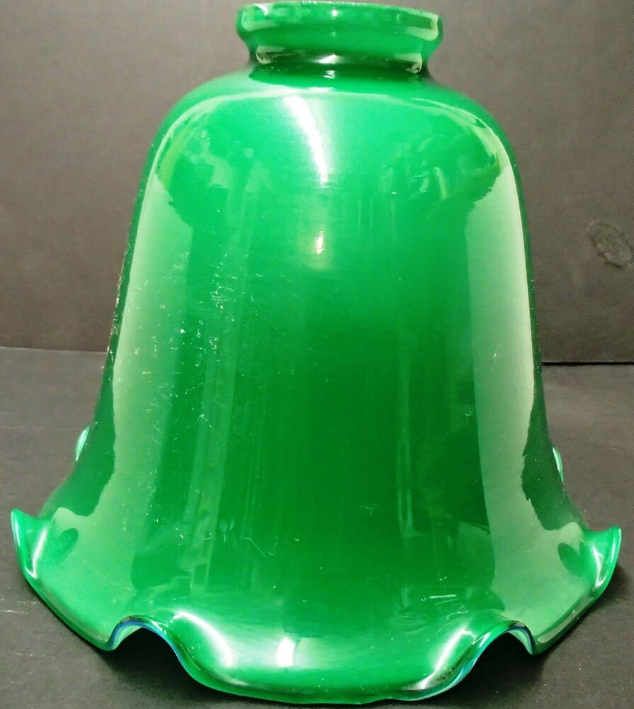GREEN CASED GLASS LAMP SHADE DESK FIXTURE OR FLOOR LAMP | eBay