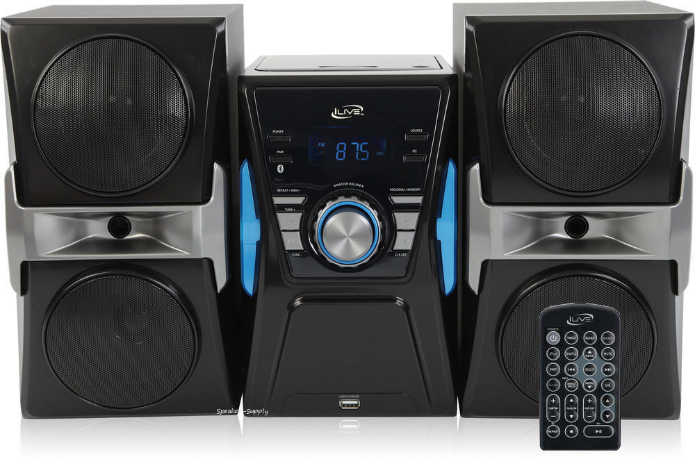 Ilive Bluetooth Home Music System Remote Cd Fm Stereo Usb