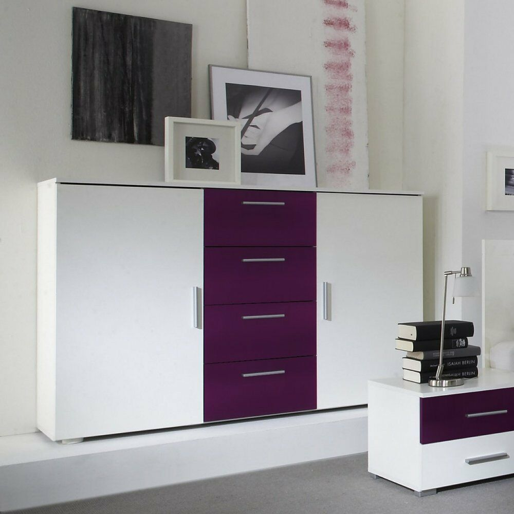 kommode kombi kommode sideboard anrichte schlafzimmer weiss lila neu ebay. Black Bedroom Furniture Sets. Home Design Ideas