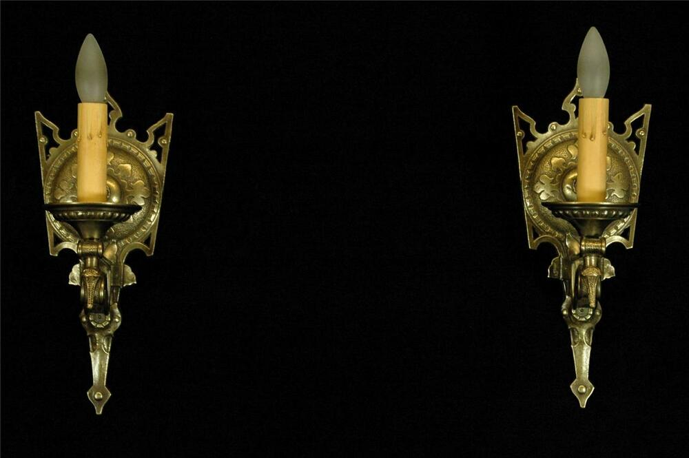 Antique Gothic Wall Sconces : ANTIQUE PAIR 1920 S RESTORED TUDOR MEDIEVAL GOTHIC SPADE BRASS WALL SCONCES eBay