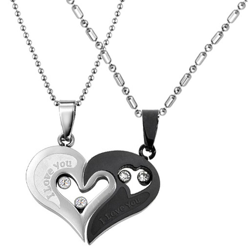 Black Stainless Steel Love Heart Couple Pendant Necklace ...