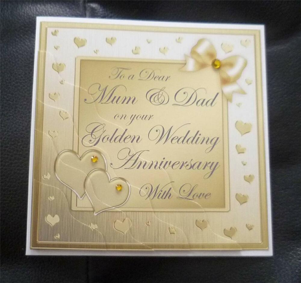 Mum dad golden th years wedding anniversary card ebay