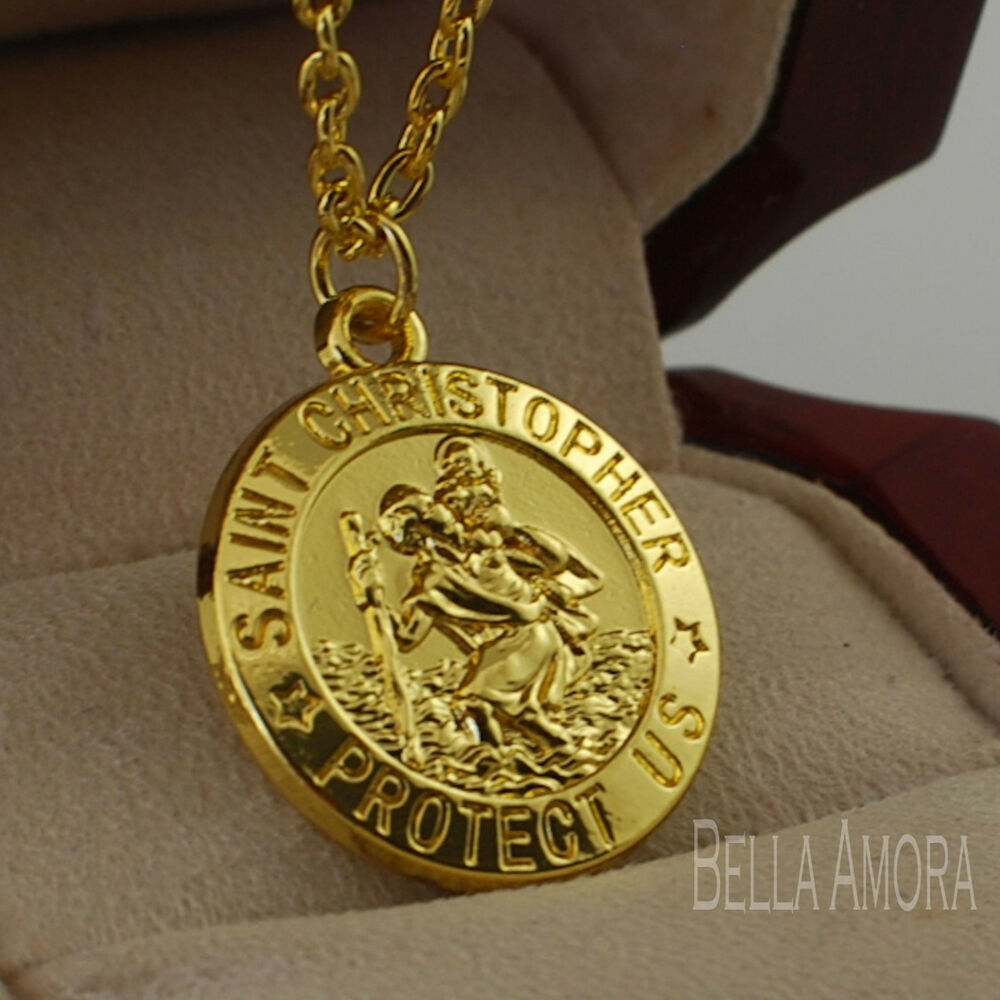 14ct yellow gold plated st christopher pendant with 18. Black Bedroom Furniture Sets. Home Design Ideas