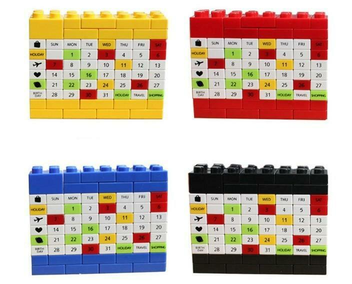 Calendar Blocks Diy : Diy changeable puzzle building block brick calendar
