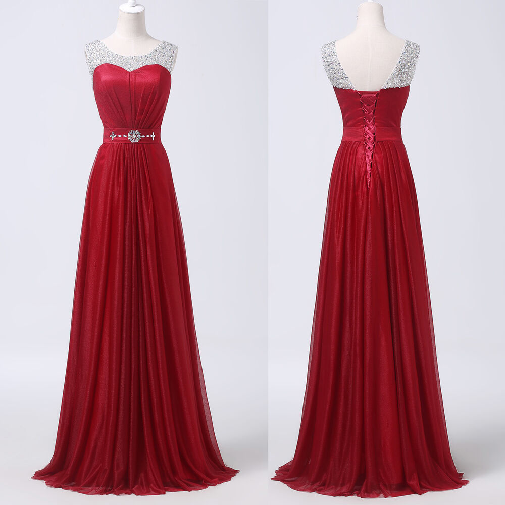 Red Scoop Neck Beaded Long Prom Formal Evening Pageant ...
