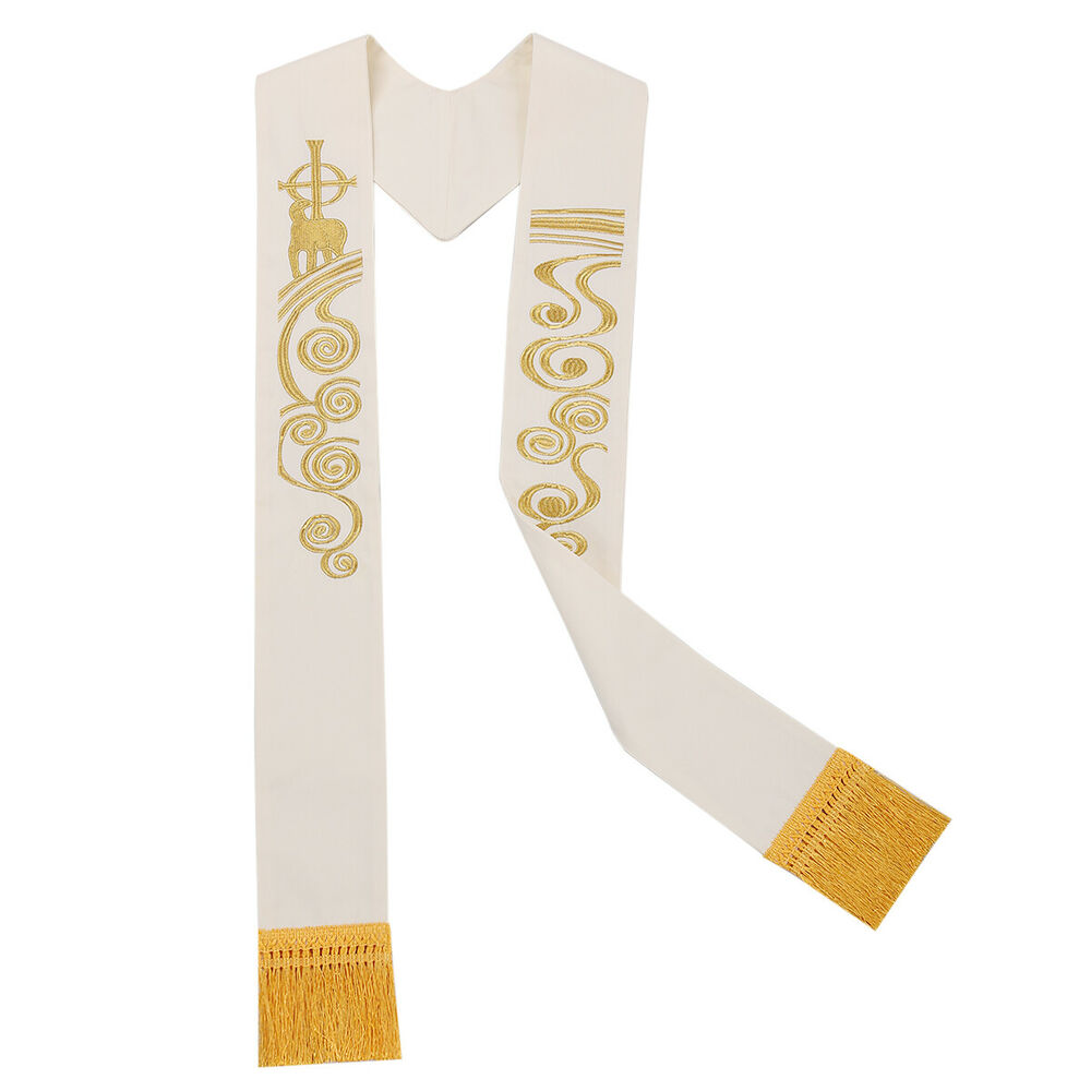 1pc white stole chasuble clergy lamb of god coss embroidery stole church stole