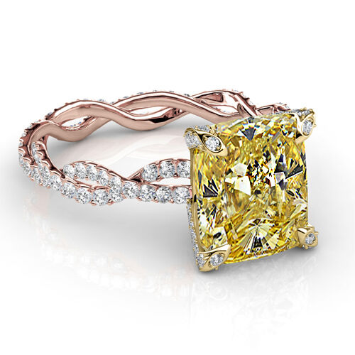 2 72 Ct Canary Cushion Cut Diamond Twist Shank Rose Gold