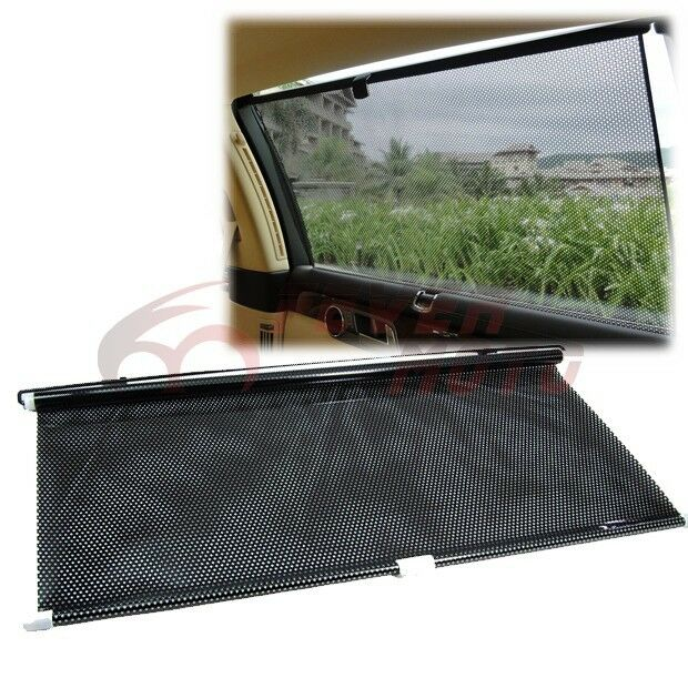 black rollable retractable block shade upholstery window sun visor windshield fm ebay. Black Bedroom Furniture Sets. Home Design Ideas