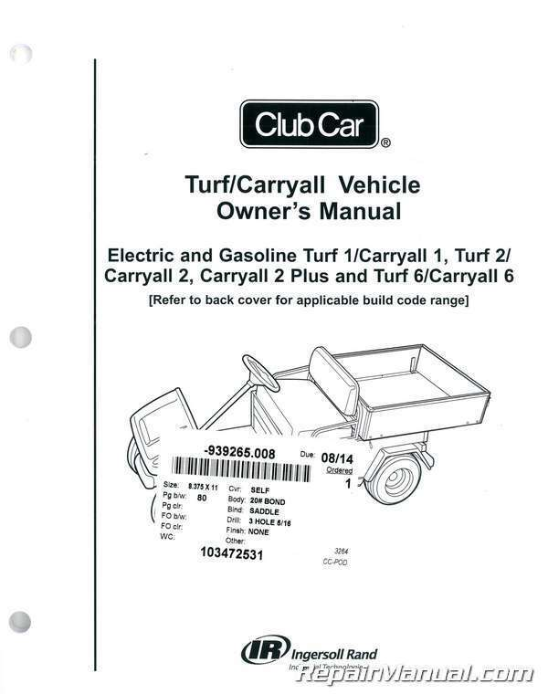 Club Car Turf    Carryall Owners Manual   103472531