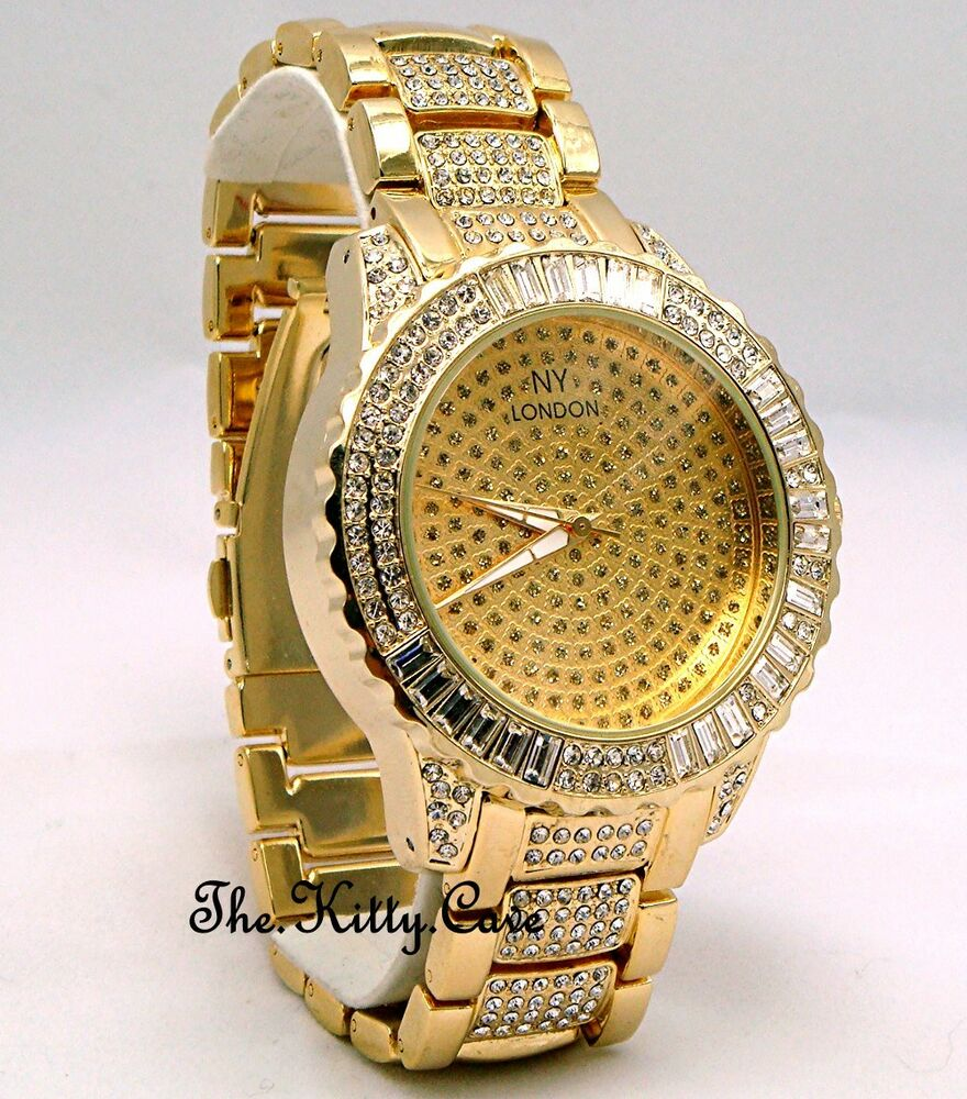 Gents ladies unisex gold plate rapper ice gem pimp bling for Rapper watches