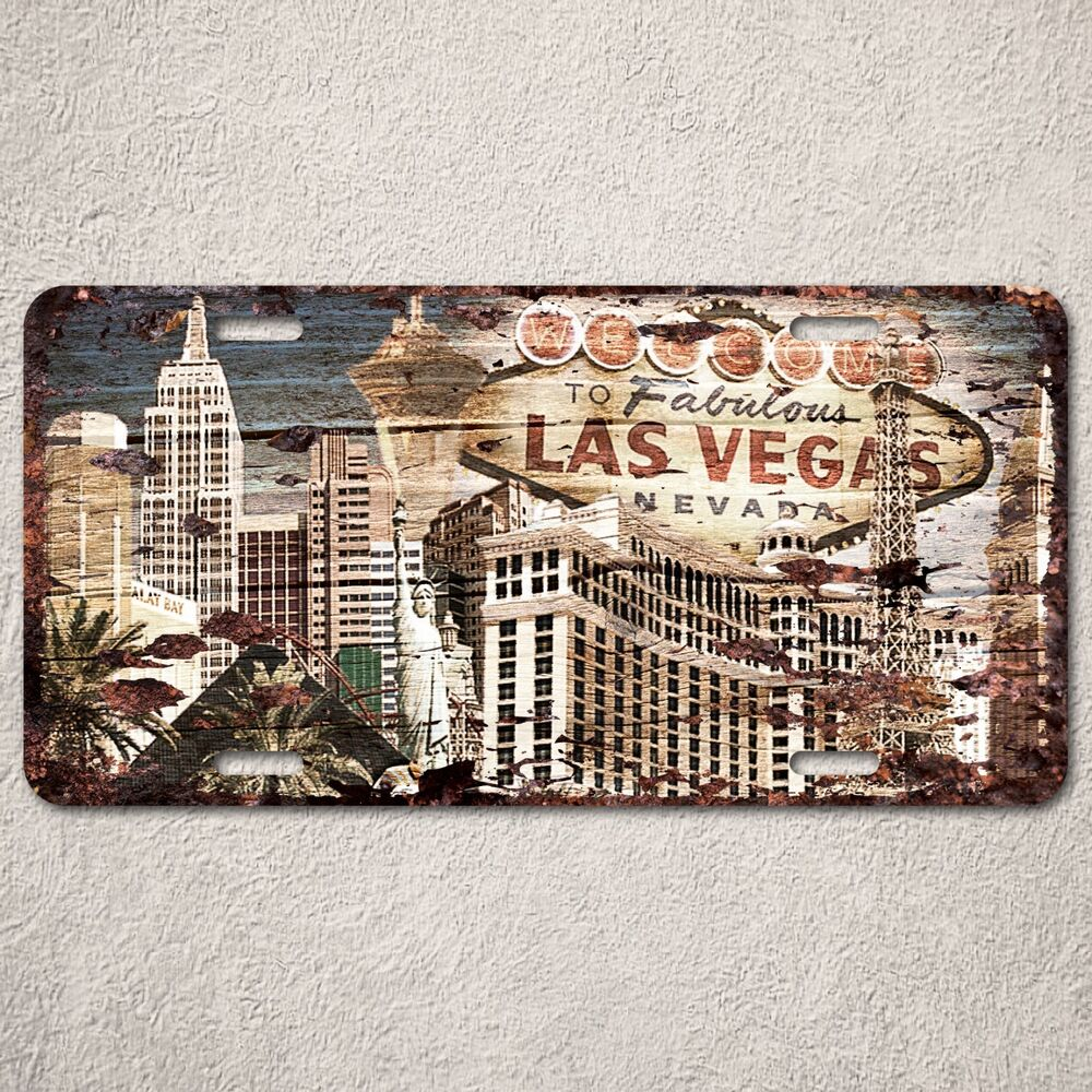Lp0145 beach wood vintage las vegas sign auto car license for Ebay motors las vegas