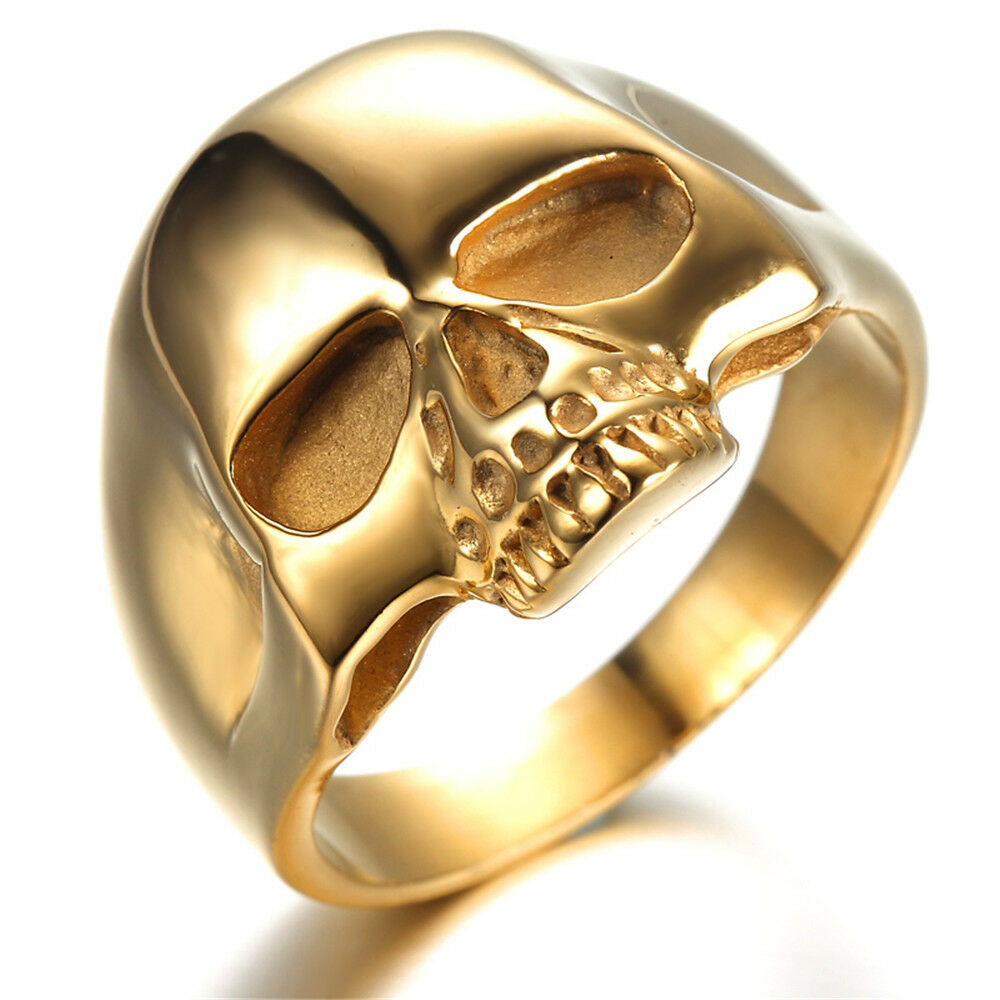 mens stainless steel ring viantage biker gold skull